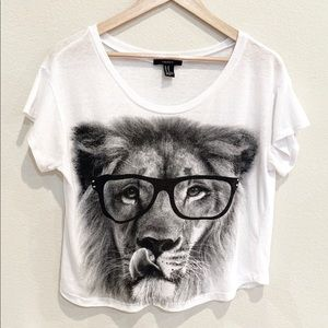 Forever 21 White Lion Graphic Tee
